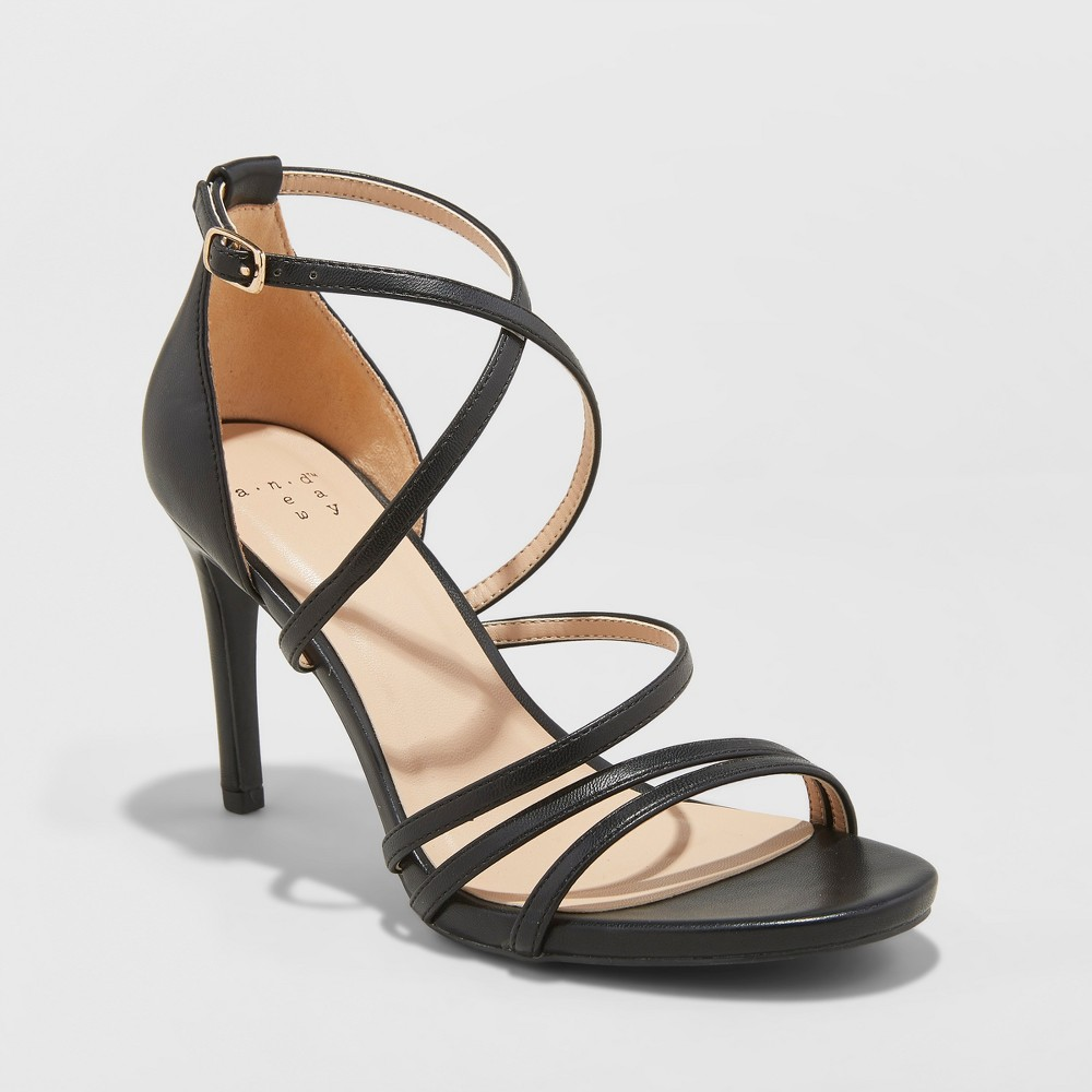 Women's Gal Strappy Stiletto Heeled Pumps - A New Day Black 7.5