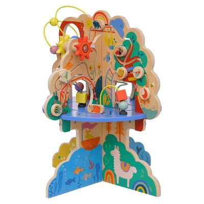 Manhattan Toy Playground Adventure Wooden Toddler Activity Center with Gliders, Abacus Track, Spinners, Spring Toys and Bead Runs