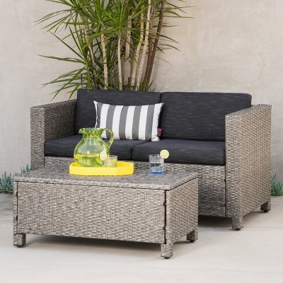 Puerta 2pc Wicker Loveseat and Coffee Table Set Black/Dark Gray - Christopher Knight Home