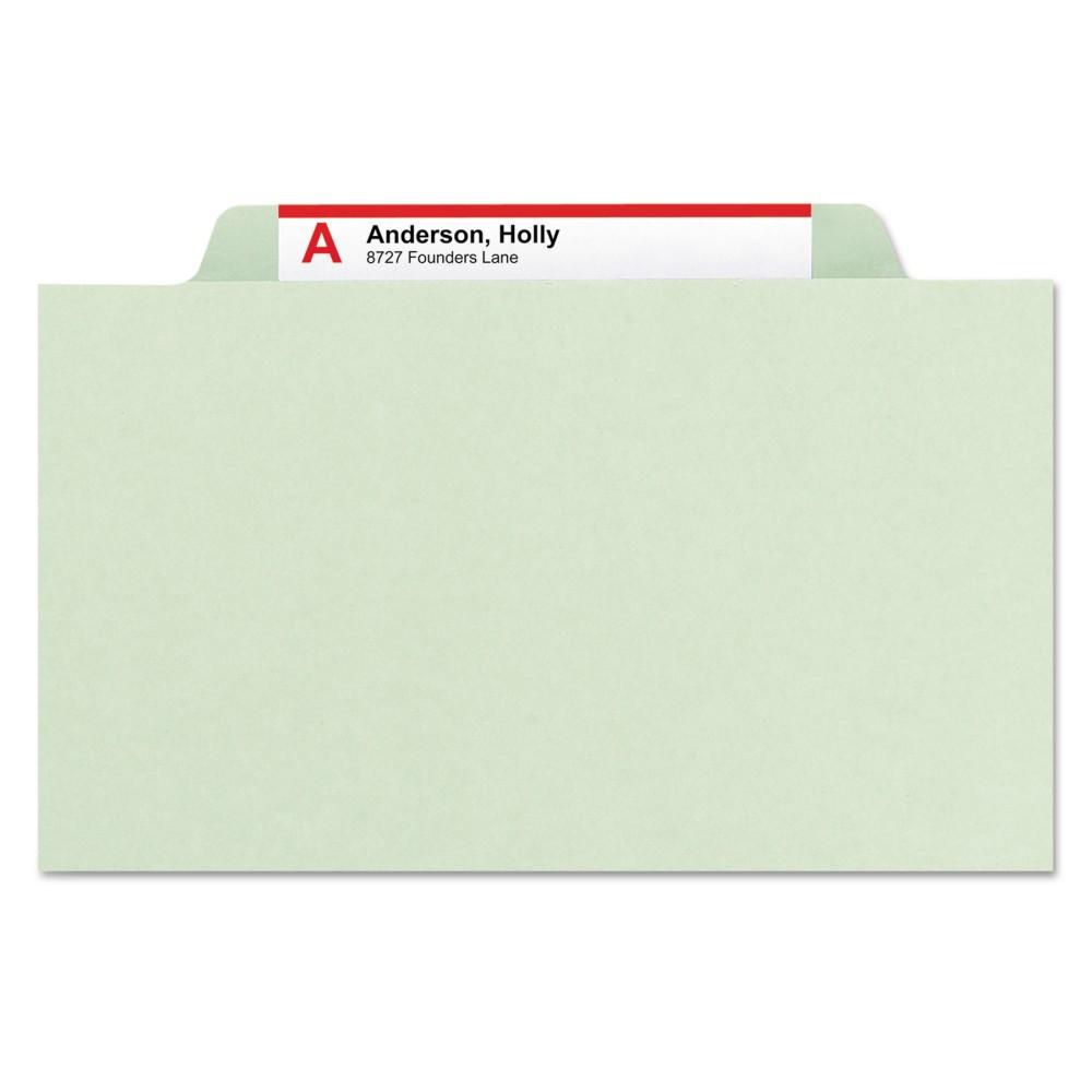 Smead Four-Section Pressboard Classification Legal File Folders- Gray/Green (10 per Box)