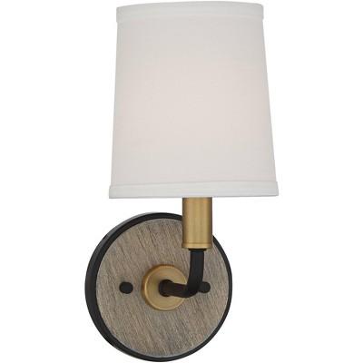 "Possini Euro Design Modern Wall Sconce Lighting Warm Brass Black Hardwired 12"" High Fixture Linen Tapered Drum Bedroom Bathroom"