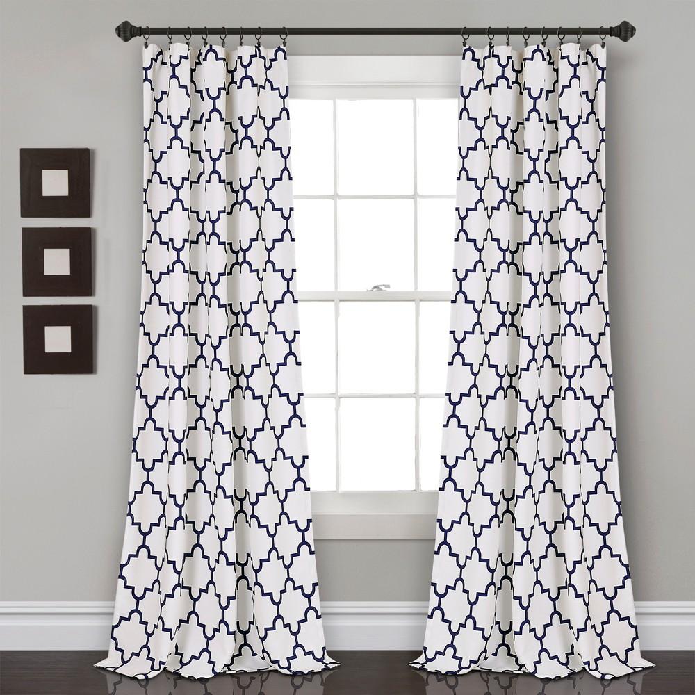 Bellagio Room Darkening Window Curtain Panels Navy (Blue) 52