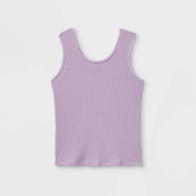 Girls' Lace Trim Ribbed Tank Top - art class™