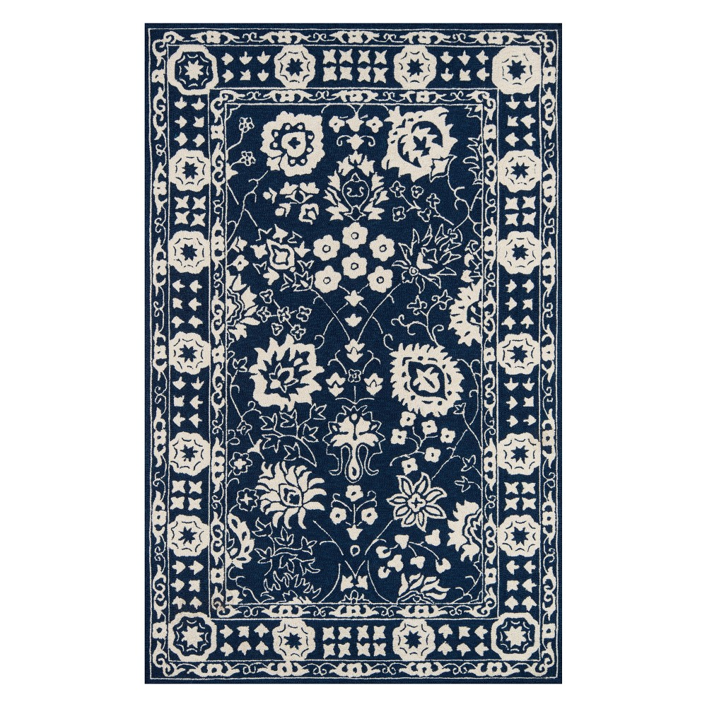 5'X8' Floral Hooked Area Rug Navy - Momeni, Green