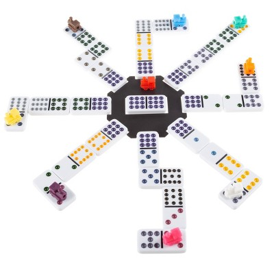 Mexican Dominos - Train Style Set with 91 Colorful Tiles in Suits 0-12 with 9 Plastic Trains and a Center Hub - Fun Classic Family Game by Toy Time