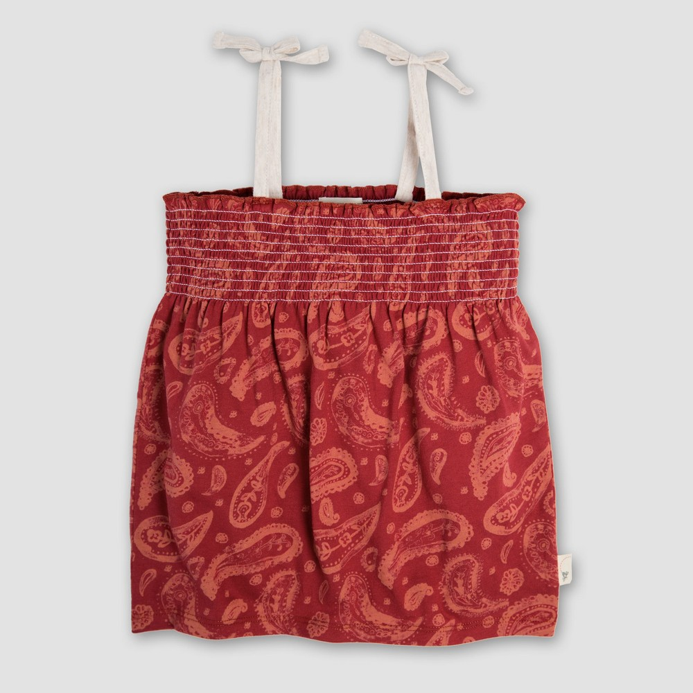 Burt's Bees Baby Toddler Girls' Paisley Sleeveless T-Shirt - Red 5T