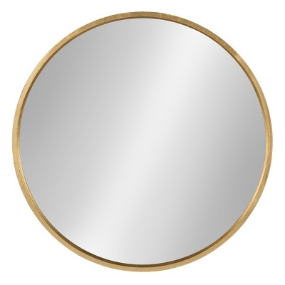 "26"" x 26"" Travis Round Wood Accent Wall Mirror Gold - Kate and Laurel"