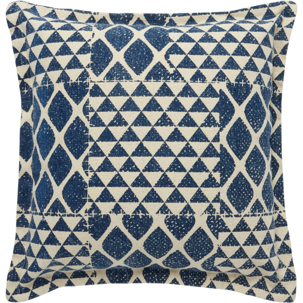Image of Life Styles Printed Triangle Patch Oversize Square Throw Pillow Indigo - Nourison