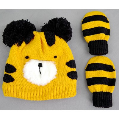 Toddler Boys' Lion Hat and Mitten Set - Cat & Jack™ Yellow 12-24M