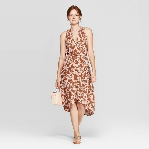 30afd3d1625 Women's Floral Print Regular Fit Sleeveless Deep V-Neck Wrap Midi Dress - A  New Day™ Smoked Pink