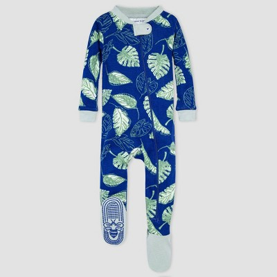 Burt's Bees Baby® Baby Boys' One Piece Jungle Leaves Footed Pajamas - Blue