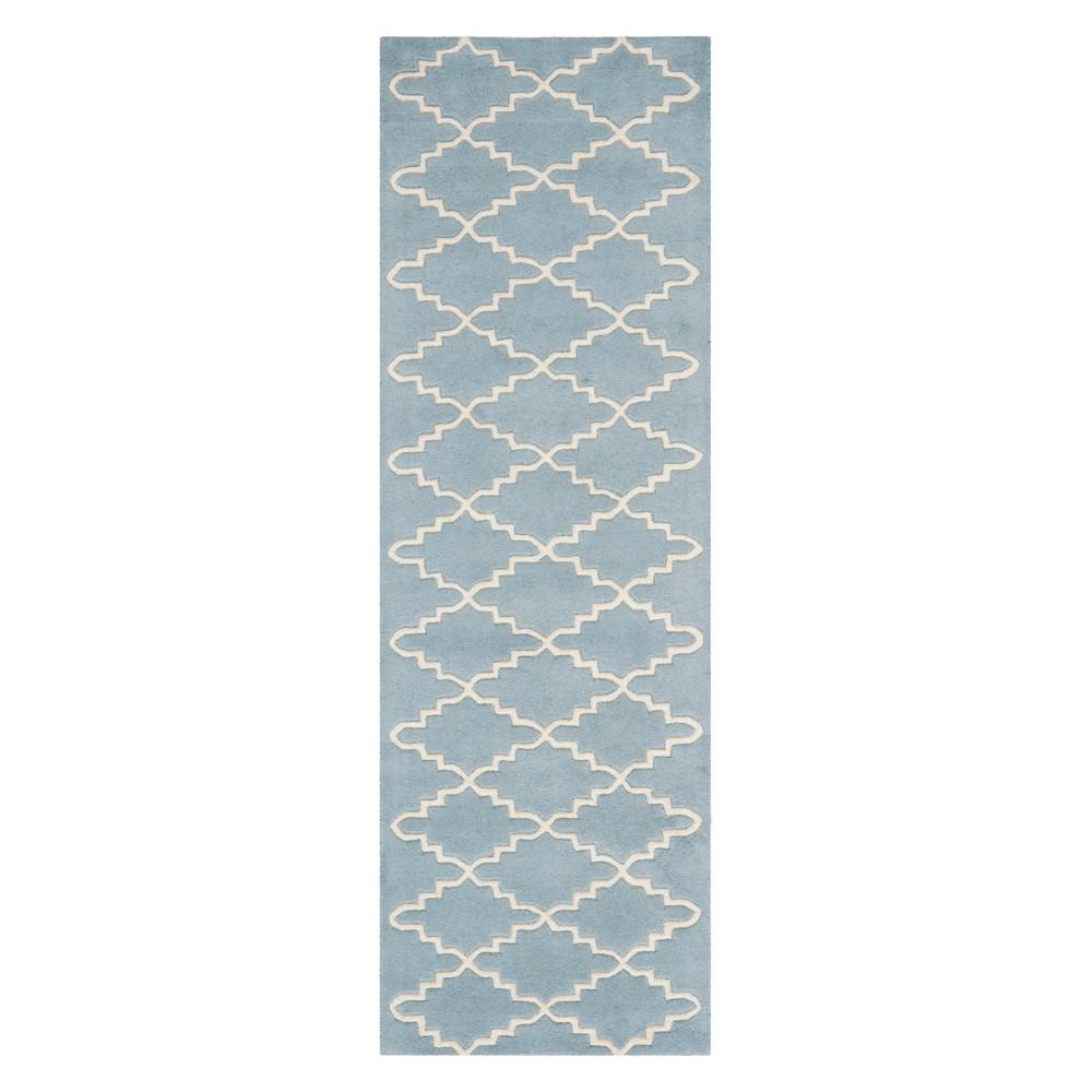 23X11 Quatrefoil Design Tufted Runner Blue/Ivory - Safavieh Top