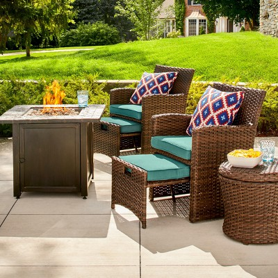 Halsted 6 pc Wicker Patio Fire Chat Set - Turquoise - Threshold™