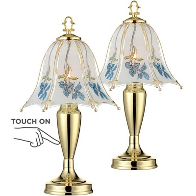 """Regency Hill Cottage Accent Table Lamps 18"""" High Set of 2 Touch On Off Brass Blue Floral Glass Shade for Bedroom Bedside"""