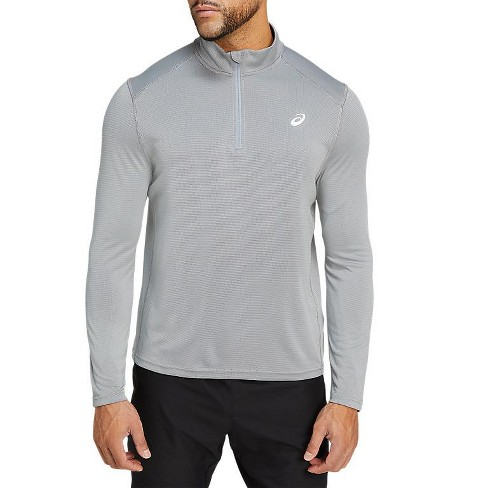 ASICS Mens Athletic Fit Long Sleeve Henley Athletic Pullover - Gray Small