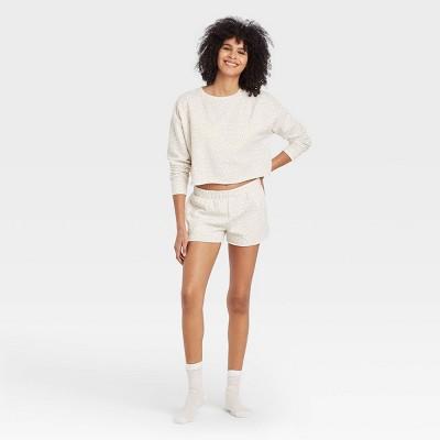 Women's Leopard Print Fleece Lounge Shorts - Colsie™ White