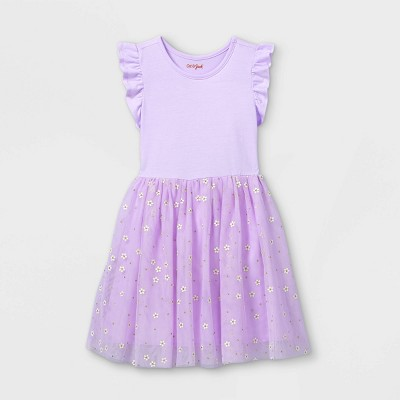 Girls' Daisy Print Short Sleeve Tulle Dress - Cat & Jack™ Light Purple