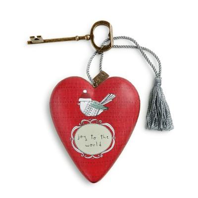 DEMDACO Joy to The World Bird Art Heart 4 inch - Red
