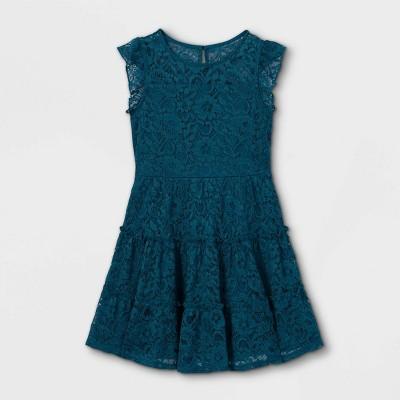 Zenzi Girls' Tiered Lace Dress - Teal