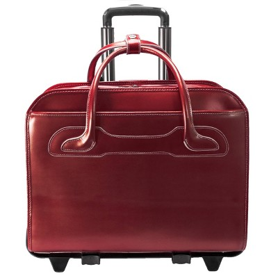 "McKlein Willowbrook 15"" Leather Patented Detachable - Wheeled Ladies' Laptop Briefcase (Red)"