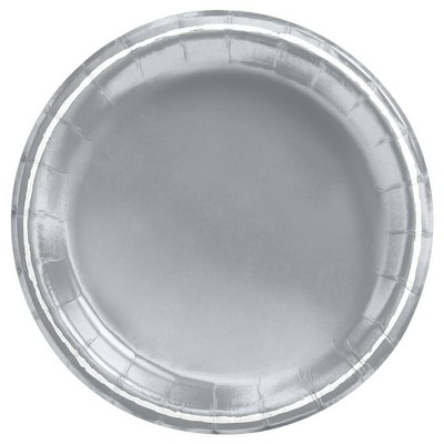 """6.75"""" Disposable Snack Plate with Foil Silver/White - Spritz™"""