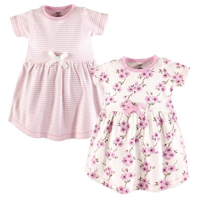 Touched by Nature Baby and Toddler Girl Organic Cotton Short-Sleeve Dresses 2pk, Cherry Blossom