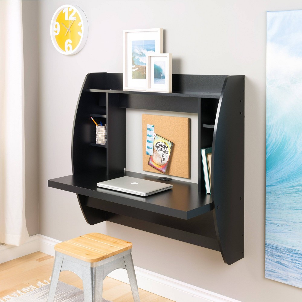 Floating Desk with Storage Black - Prepac