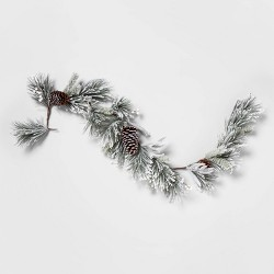 "72"" x 3"" Artificial Flocked Pine Garland Green - Threshold™"