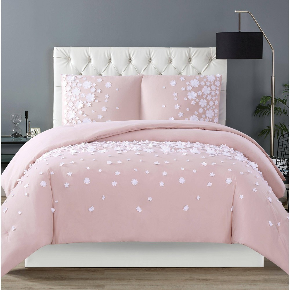 Image of Christian Siriano Confetti Flowers Full/Queen Duvet Cover Set Blush Pink
