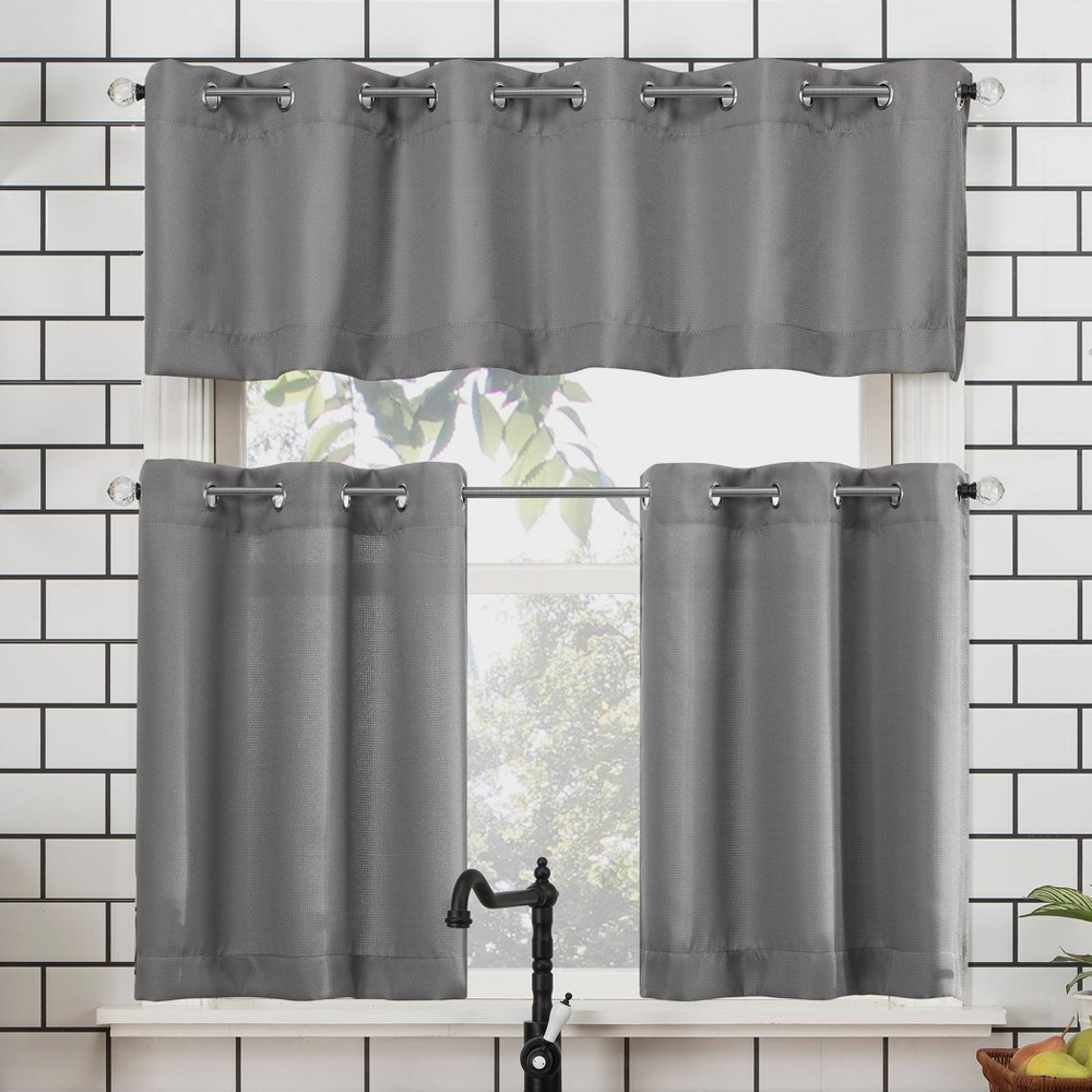 "Image of ""24""""x54"""" Dylan Casual Textured Semi-Sheer Grommet Kitchen Curtain Valance and Tiers Set Gray - No. 918"""