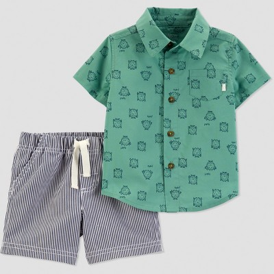 Baby Boys' 2pc Stripe Monster Set - Just One You® made by carter's Green/Blue 3M