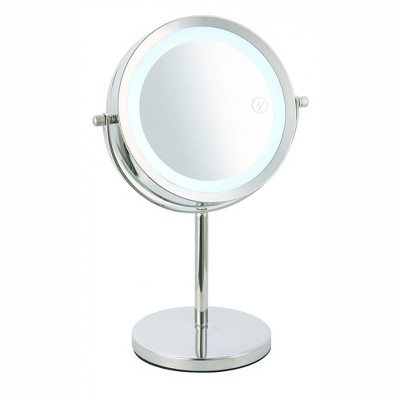 Home Basics Cosmetic Mirror with LED Light, Chrome