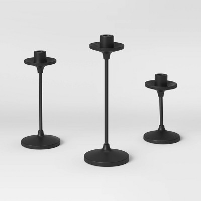 "11""x4"" Set of 3 Tapers Metal Candle Holder Black - Threshold™"