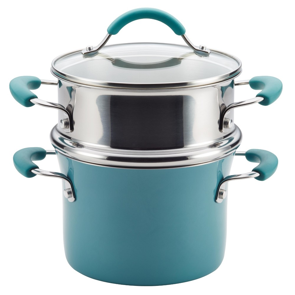 Image of Rachael Ray 3 Quart Covered Multi-Pot Set with Steamer - Agave Blue