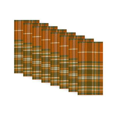 "Loden Plaid Fall Printed Napkins, Set of 8 - 17"" x 17"" - Orange/Green - Elrene Home Fashions"