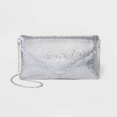 Estee & Lilly Mesh V Flap Snap Closure Envelope Clutch - Silver