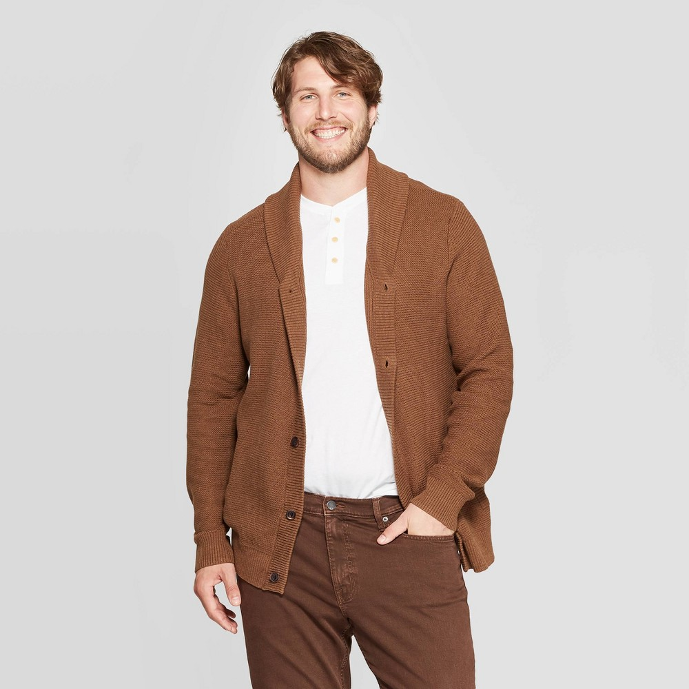 Image of Men's Big & Tall Button-Up Mock Neck Sweater - Goodfellow & Co Brown 5XBT