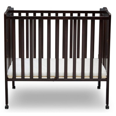 Delta Children Folding Portable Mini Baby Crib with 1.5'' Mattress, Greenguard Gold Certified - Dark Chocolate