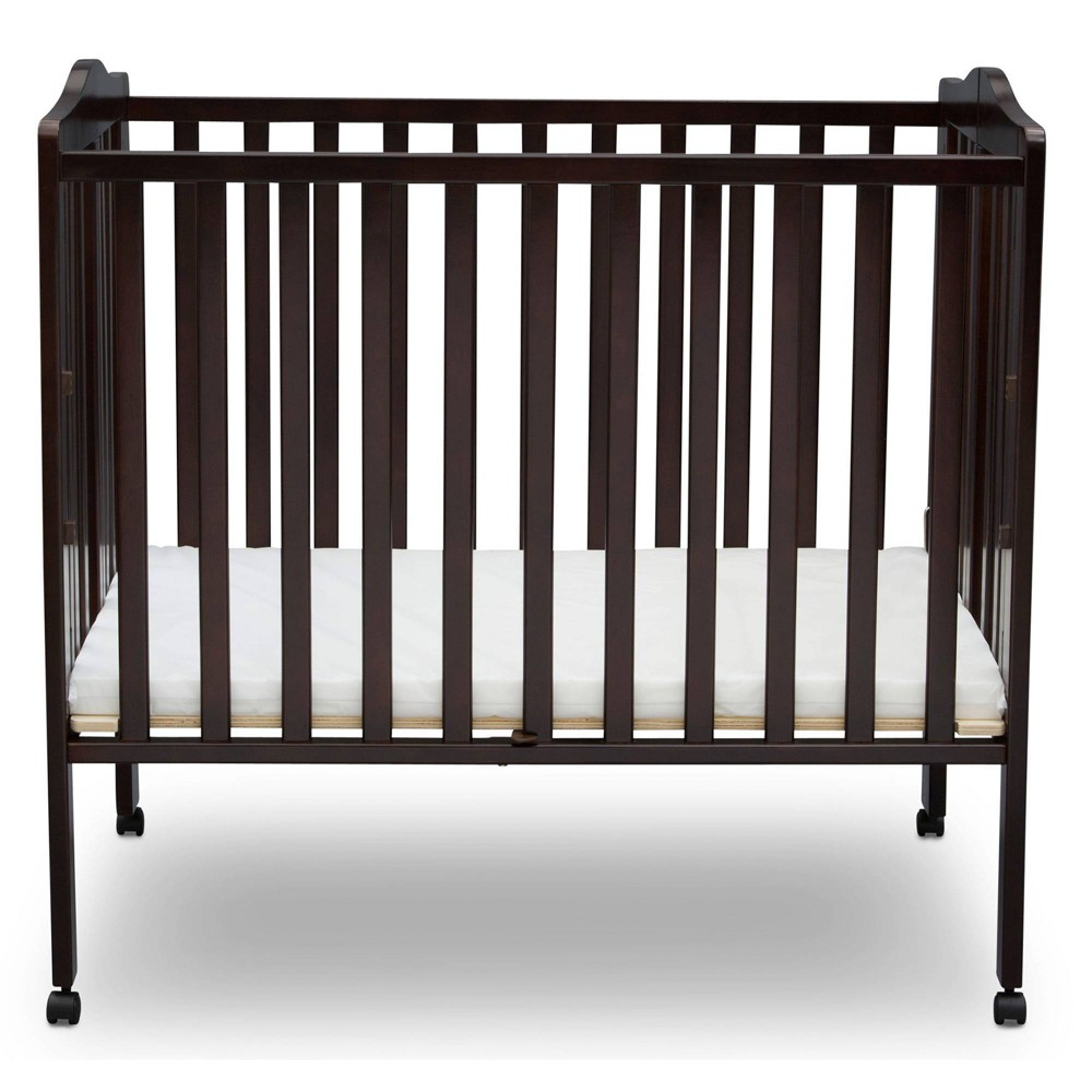 Delta Children Folding Portable Mini Baby Crib with Mattress - Dark Chocolate