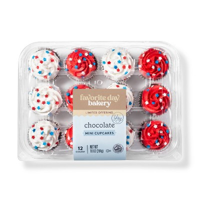 Patriotic Chocolate Mini Cupcakes - 12ct - Favorite Day™