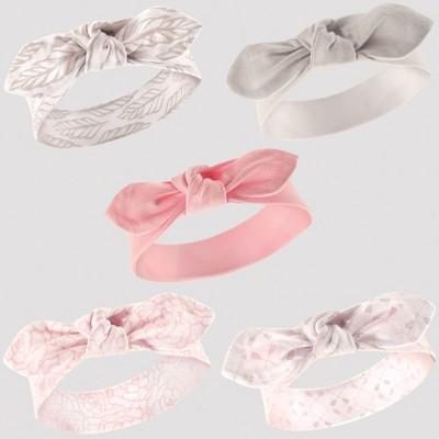 Hudson Baby Girls' 5pk Headband Set - Gray 0-12M