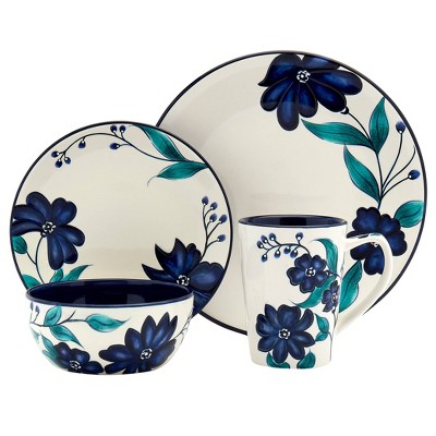 16pc Earthenware Forget Me Not Dinnerware Set - Tabletops Gallery