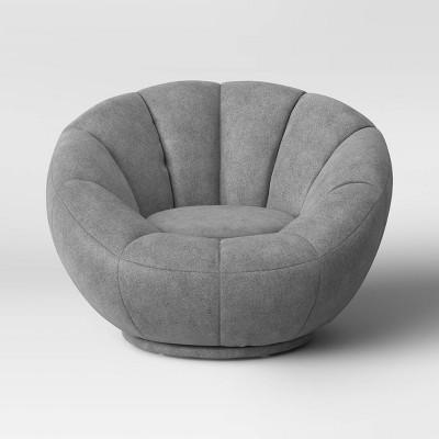 Kids Sherpa Tulip Swivel Chair Gray - Pillowfort™