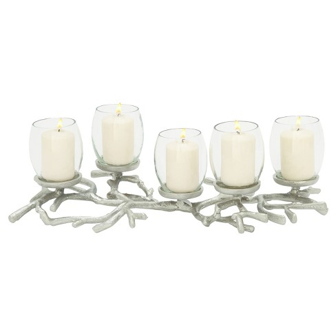 "Coastal Living Aluminum and Glass Candle Holder (19"") - Olivia & May - image 1 of 2"