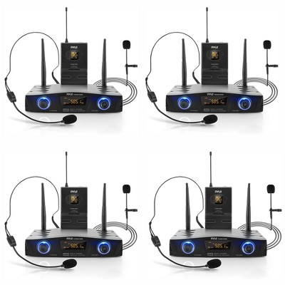Pyle PDWM1988B Compact Wireless Portable PA Microphone Receiver Base System with Belt Pack Transmitter, Lavalier & Headset Microphones, Black (4 Pack)