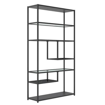 "72"" Eos Bookcase Etagere Marble/Glass Black - Room & Joy"