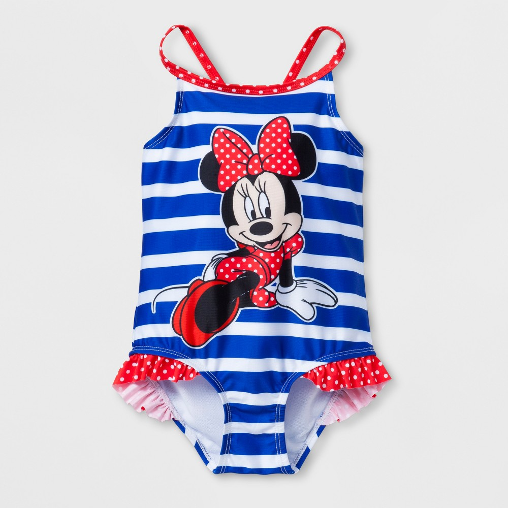 Toddler Girls' Disney Minnie Mouse One Piece Swimsuit - Navy 3T, Blue