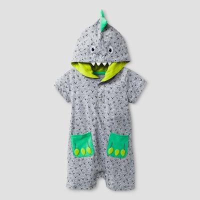 Baby Grand Signature Baby Boys' Dino Hooded Romper - Gray 0-3M