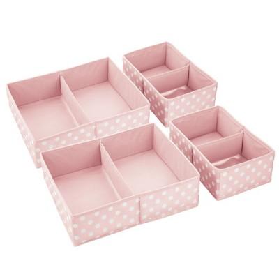 mDesign Fabric Child/Kids Drawer Organizer, 2 Sizes, Set of 4
