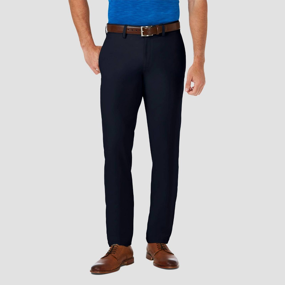 Haggar Men 39 S Cool 18 Pro Slim Fit Flat Front Casual Pants Navy 34x34